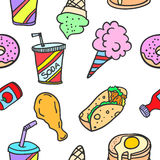Food and drink of doodles. Vector art Stock Image