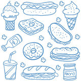 Food and drink of doodles. Vector illustration Stock Photo