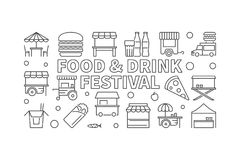 Food and drink festival concept outline vector banner. Food and drink festival concept outline banner - vector horizontal illustration on white background Royalty Free Stock Photos