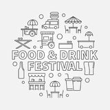 Food and drink festival round concept linear illustration. Food and drink festival round concept illustration. Vector symbol in thin line style Royalty Free Stock Images