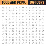 Food and drink flat icon set. Royalty Free Stock Image