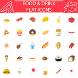 Food and drink flat icon set. Food and drink flat pictograms package, Sweets symbols collection, fast food vector sketches, logo illustrations, meals colorful Stock Photography