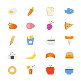 Food and Drink Flat Icons color Stock Photography