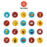 Food and drink flat icons vector illustration
