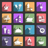 Food and drink flat icons. Food and drink icons with long shadow, flat design vector stock illustration
