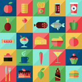 Food and drink flat icons set. Food beverage ingredients flat vector set Stock Images