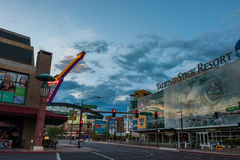 Food and drink flow freely when the sports teams are in town. Downtown Phoenix sports, restaurants, and bars district on Jefferson Ave. reflecting the morning Royalty Free Stock Image