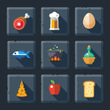 Food and drink  in the game icon set on stone Royalty Free Stock Image