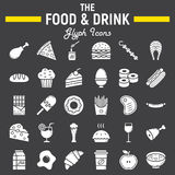 Food and drink glyph icon set, meal signs. Food and drink glyph icon set, meal symbols collection, vector sketches, logo illustrations, signs solid pictograms royalty free illustration