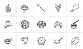 Food and drink hand drawn sketch icon set. Food and drink hand drawn outline doodle icon set for print, web, mobile and infographics. Drink and food vector Royalty Free Stock Photography