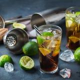 Cuba libre or long island iced tea alcohol cocktail drink Stock Image