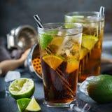 Cuba libre or long island iced tea alcohol cocktail drink Stock Photo