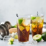 Cuba libre or long island iced tea alcohol cocktail drink Royalty Free Stock Image