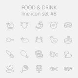 Food and drink icon set. Vector dark grey icon isolated on light grey background Stock Photography