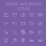 Food and drink icon set. Vector light purple icon isolated on dark purple background Royalty Free Stock Photo