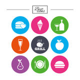 Food, drink icons. Alcohol and burger signs. Royalty Free Stock Photography
