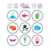 Food, drink icons. Alcohol, fish and burger. Information, report and calendar signs. Food, drink icons. Alcohol, fish and burger signs. Hot dog, cheese and Royalty Free Stock Photo