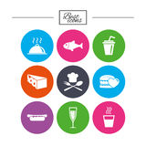 Food, drink icons. Alcohol, fish and burger. Food, drink icons. Alcohol, fish and burger signs. Hot dog, cheese and restaurant symbols. Classic simple flat Royalty Free Stock Photography