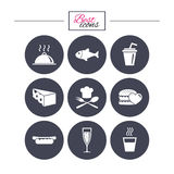 Food, drink icons. Alcohol, fish and burger. Food, drink icons. Alcohol, fish and burger signs. Hot dog, cheese and restaurant symbols. Classic simple flat Stock Image