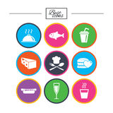Food, drink icons. Alcohol, fish and burger. Food, drink icons. Alcohol, fish and burger signs. Hot dog, cheese and restaurant symbols. Classic simple flat Royalty Free Stock Photo
