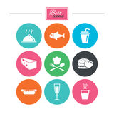 Food, drink icons. Alcohol, fish and burger. Food, drink icons. Alcohol, fish and burger signs. Hot dog, cheese and restaurant symbols. Colorful flat buttons Stock Images