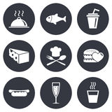 Food, drink icons. Alcohol, fish and burger. Signs. Hot dog, cheese and restaurant symbols. Gray flat circle buttons. Vector Royalty Free Stock Images