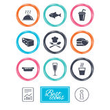 Food, drink icons. Alcohol, fish and burger. Royalty Free Stock Photography