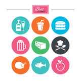 Food, drink icons. Beer, fish and burger signs. Chicken, cheese and apple symbols. Colorful flat buttons with icons. Vector Stock Photos