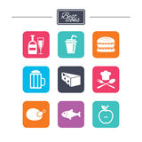 Food, drink icons. Beer, fish and burger signs. Royalty Free Stock Images