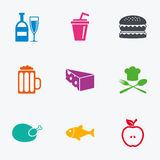Food, drink icons. Beer, fish and burger signs. Stock Image