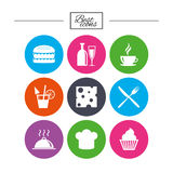 Food, drink icons. Coffee and hamburger signs. Stock Photo
