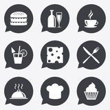 Food, drink icons. Coffee and hamburger signs. Royalty Free Stock Photography