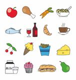 Food and drink icons in color. Isolated stock illustration