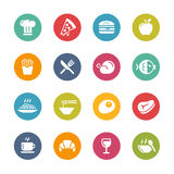 Food and Drink Icons - 1 -- Fresh Colors Series Royalty Free Stock Photography