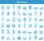 Food and drink icons. Fruits, Vegetables, Fast food and every day food icons. Outline design style. Vector Royalty Free Stock Photos