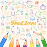 Food and drink icons. Fruits, Vegetables, Fast food and every day food icons. Outline design style. Vector Royalty Free Stock Photography