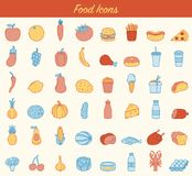 Food and drink icons. Fruits, Vegetables, Fast food and every day food icons. Outline design style. Vector Stock Photography