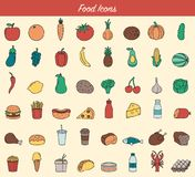 Food and drink icons. Fruits, Vegetables, Fast food and every day food icons. Outline design style. Vector Stock Photos