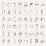 Food and drink icons. Fruits, Vegetables, Fast food and every day food icons. Outline design style. Vector Royalty Free Stock Images