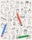 Food and drink icons. Fruits, Vegetables, Fast food and every day food icons. Outline design style. Vector Stock Image
