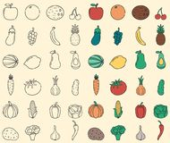 Food and drink icons. Fruits and Vegetables food icons. Outline design style. Vector. Illustration Stock Photography