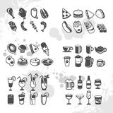 Food and drink icons. Icons of different food and drinks, vector Royalty Free Stock Photography