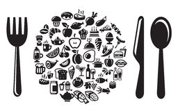 Food and drink icons set Stock Photography
