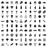 100 food and drink icons set. Royalty Free Stock Photos