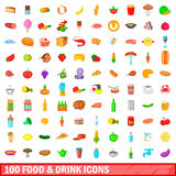 100 food and drink icons set, cartoon style Royalty Free Stock Photo