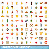 100 food and drink icons set, cartoon style Stock Photos