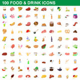 100 food and drink icons set, cartoon style Royalty Free Stock Photos
