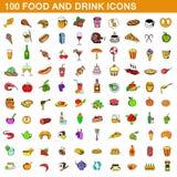 100 food and drink icons set, cartoon style. 100 food and drink icons set in cartoon style for any design illustration stock illustration