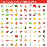 100 food and drink icons set, isometric 3d style vector illustration