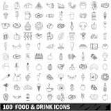 100 food and drink icons set, outline style Royalty Free Stock Image